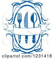 Clipart Of A Blue Banner Over Silverware In A Swirl Frame Royalty Free Vector Illustration by Vector Tradition SM