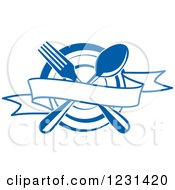 Clipart Of A Blue Banner Over A Crossed Fork And Spoon And A Plate Royalty Free Vector Illustration