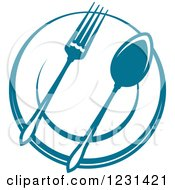 Clipart Of A Blue Fork And Spoon On A Plate Royalty Free Vector Illustration
