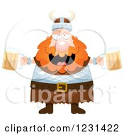 Clipart Of A Drunk Red Haired Viking Man With Beer Royalty Free Vector Illustration by Cory Thoman