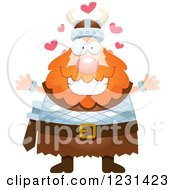 Clipart Of A Loving Red Haired Viking Man Royalty Free Vector Illustration