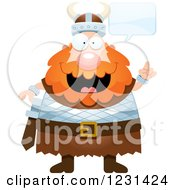 Clipart Of A Talking Smart Red Haired Viking Man Royalty Free Vector Illustration