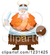 Clipart Of A Mad Red Haired Viking Man Royalty Free Vector Illustration by Cory Thoman