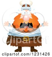 Clipart Of A Screaming Red Haired Viking Man Royalty Free Vector Illustration