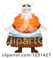 Clipart Of A Depressed Red Haired Viking Man Royalty Free Vector Illustration