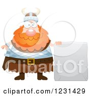 Clipart Of A Happy Red Haired Viking Man With A Stone Tablet Sign Royalty Free Vector Illustration