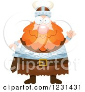 Clipart Of A Friendly Waving Red Haired Viking Man Royalty Free Vector Illustration