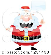 Clipart Of A Talking Smart Santa Claus Royalty Free Vector Illustration
