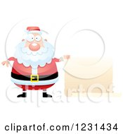 Clipart Of A Happy Santa Claus With A Scroll Sign Royalty Free Vector Illustration