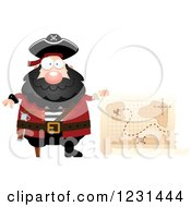 Clipart Of A Happy Pirate Captain With A Treasure Map Royalty Free Vector Illustration