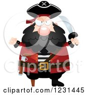 Clipart Of A Mad Pirate Captain Royalty Free Vector Illustration