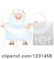 Clipart Of A Happy Greek Man By A Stone Tablet Sign Royalty Free Vector Illustration by Cory Thoman