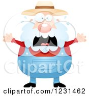 Clipart Of A Scared Screaming Senior Male Farmer Royalty Free Vector Illustration