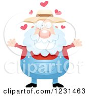 Clipart Of A Senior Male Farmer Wanting A Hug Royalty Free Vector Illustration