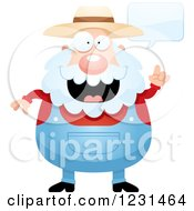 Clipart Of A Senior Male Farmer Talking Royalty Free Vector Illustration