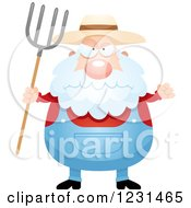Clipart Of A Mad Senior Male Farmer With A Pitchfork Royalty Free Vector Illustration