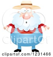 Clipart Of A Surprised Gasping Senior Male Farmer Royalty Free Vector Illustration