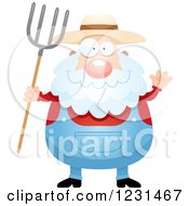 Clipart Of A Friendly Waving Senior Male Farmer Royalty Free Vector Illustration