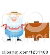 Clipart Of A Senior Male Farmer By A Wooden Sign Royalty Free Vector Illustration