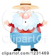 Clipart Of A Careless Shrugging Senior Male Farmer Royalty Free Vector Illustration