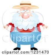 Clipart Of A Depressed Senior Male Farmer Royalty Free Vector Illustration