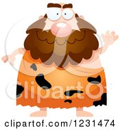 Clipart Of A Friendly Waving Caveman Royalty Free Vector Illustration