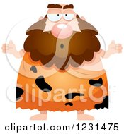 Clipart Of A Careless Shrugging Caveman Royalty Free Vector Illustration by Cory Thoman