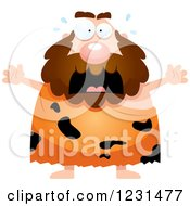 Clipart Of A Scared Screaming Caveman Royalty Free Vector Illustration by Cory Thoman