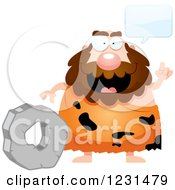 Clipart Of A Smart Caveman Discussing The Wheel Royalty Free Vector Illustration