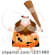 Clipart Of A Mad Caveman Holding Up A Club Royalty Free Vector Illustration