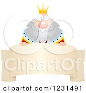 Clipart Of A Happy King Over A Banner Royalty Free Vector Illustration by Cory Thoman