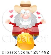 Clipart Of A Happy Mining Prospector Man With A Gold Nugget Royalty Free Vector Illustration by Cory Thoman