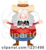 Clipart Of A Scared Screaming Mining Prospector Man Royalty Free Vector Illustration