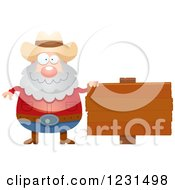 Clipart Of A Happy Mining Prospector Man By A Wood Sign Royalty Free Vector Illustration by Cory Thoman