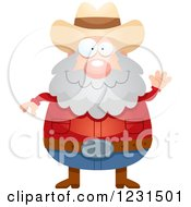 Clipart Of A Friendly Waving Mining Prospector Man Royalty Free Vector Illustration