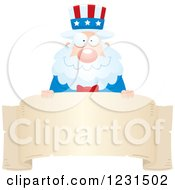 Clipart Of A Happy Uncle Sam Over A Banner Label Royalty Free Vector Illustration