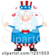 Clipart Of A Loving Uncle Sam Royalty Free Vector Illustration