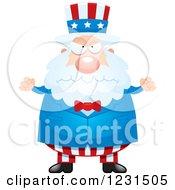 Clipart Of A Mad Uncle Sam Royalty Free Vector Illustration