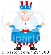 Clipart Of A Careless Shrugging Uncle Sam Royalty Free Vector Illustration