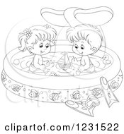 Clipart Of An Outlined Boy And Girl With Toys In A Whale Swimming Pool Royalty Free Vector Illustration