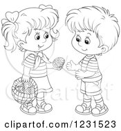 Clipart Of An Outlined Boy And Girl Exchanging An Easter Egg Royalty Free Vector Illustration by Alex Bannykh
