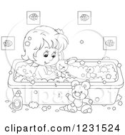 Clipart Of An Outlined Girl Playing With Toys In The Bath Tub Royalty Free Vector Illustration