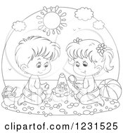 Clipart Of An Outlined Boy And Girl Making A Sand Castle Royalty Free Vector Illustration