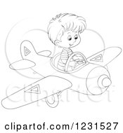 Clipart Of An Outlined Boy Flying A Plane Royalty Free Vector Illustration