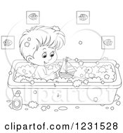 Clipart Of An Outlined Boy Playing With Toys In The Bath Tub Royalty Free Vector Illustration