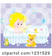 Clipart Of A White Girl Playing With Toys In The Bath Tub Royalty Free Vector Illustration
