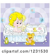 Clipart Of A Caucasian Girl Playing With Toys In The Bath Tub Royalty Free Vector Illustration