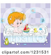 Clipart Of A Caucasian Boy Playing With Toys In The Bath Tub Royalty Free Vector Illustration