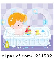 Clipart Of A White Boy Playing With Toys In The Bath Tub Royalty Free Vector Illustration