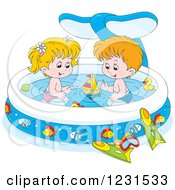 Clipart Of A White Boy And Girl With Toys In A Whale Swimming Pool Royalty Free Vector Illustration